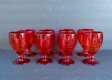 "LOVELY VINTAGE ANCHOR HOCKING AMBERINA WINE/WATER GOBLETS SET OF 8 ""PERFECT"""