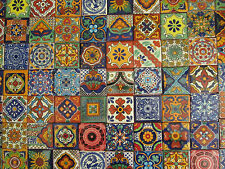 "70 MEXICAN TALAVERA TILES 2X2 ASSORTED DESIGNS 2 X 2"" mixed patterns"