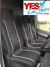 FIAT DUCATO 2016 ONWARDS DELUXE WHITE PIPING VAN SEAT COVERS 2+1