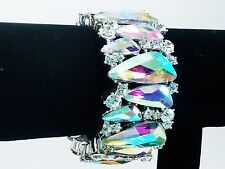 AB Aurora Borealis Silver Bracelet Stretch Wedding Bride Pageant Prom Showgirl