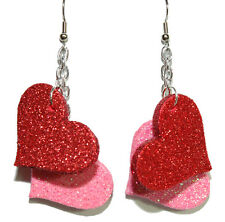 PINK & RED GLITTER HEART VALENTINE DANGLE EARRINGS (H214)