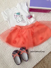 American Girl COCONUT CUTIE doll Outfit NEW, Skirt Tee Shoes, Barrette Puppy Dog