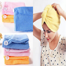 Lady Hair Wrap Head Towel Turbie  Turban Twist Drying Cap  Loop Button Hat