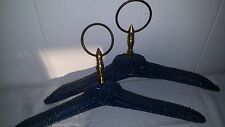 Pair 2 Vintage Woven Wicker Clothes Hanger Clothing Display