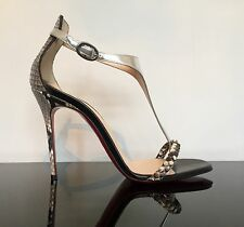 Christian Louboutin Athena 100 Python Metallic Sandals 37.5 UK 4.5  US 7.5
