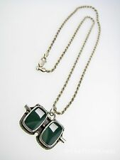 NAVAJO Necklace Chrysoprase Sterling Silver Signed BEGAY