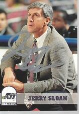 jerry sloan signed card autographed utah jazz auto nba hof hall of fame coach