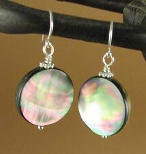 Black shell earrings. Big. Rainbow iridescent.  Round. Sterling silver. 925.