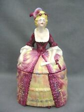 A stunning Crinoline Lady biscuit barrel / cookie jar / powder bowl - 1930s