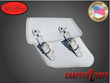04-UP Harley Dyna FXR Left Side Solo Saddle Bag WHITE OSTRICH SKIN Embossed