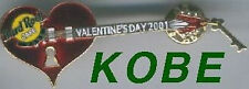 Hard Rock Cafe KOBE 2001 Valentine's Day PIN Heart Guitar Key