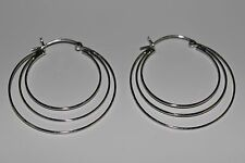 New 925 Sterling Silver 40 mm. Airy Triple Rings Hoop Earrings