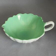 FIRE KING ANCHOR HOCKING VITROCK GREEN NAPPY BOWL w/ HANDLE Oyster & Pearl