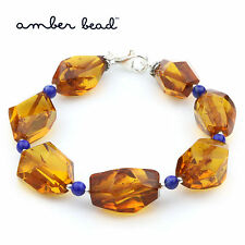 Natural Baltic Amber Bracelet Olive Beads Lapis Lazuli 925 Sterling Silver OCT69