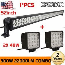 52INCH 300W LED WORK LIGHT BAR COMBO SPOT FLOOD DRIVING OFFROAD 4WD SUV JEEP 48W
