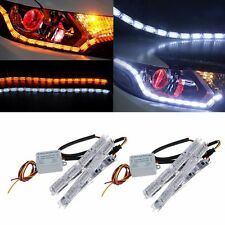 2x DRL Switchback 16LED Daytime Running Strip Sequential Turn Signal White/Amber