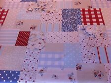 FRYETT`S Vintage Patchwork Blue Cotton Fabric for Curtain/Upholstery/Cushions