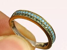 TURKISH HANDMADE EMERALD TURQUOISE   925 STERLING SILVER RING SIZE 7 R-603