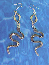 "DEADLY EGYPTIAN STEAMPUNK/VICTORIAN STYLE A.SP 3"" NAJA SNAKE EARRINGS .925 HOOKS"