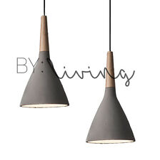 Modern Contemporary Minimal Wood Timber Concrete cement pendant light
