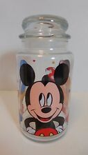 Walt Disney Glass Candy Cookie Jar Mickey Mouse Minnie Mouse Donald Duck