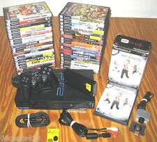 Sony (PlayStation PS2) Black Console (SCPH-50001/N) W/39 Games & Network Adapter