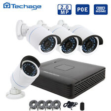 Techage 4PCS HD 2.0Mp IP Cameras 4CH 1080P POE NVR CCTV System Home Security