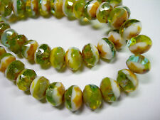 25 beads - 8x6mm Green / Gold Picasso Mix Czech Firepolished Rondelle beads