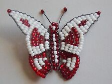 Sweet Wire & Colourful Red & White Handmade Beadwork Butterfly Brooch