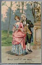 Coppia Romantica Corteggiamento '700 Love Romance Glamour PC Viaggiata 1902