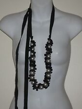 Lee Angel LRG Faux White Pearl Black Ribbon Grosgrain Tie Statement Necklace NWT