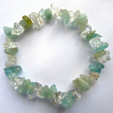 **BEAUTIFUL AQUAMARINE & CLEAR QUARTZ CRYSTAL CHIP BRACELET - HEALING / REIKI**