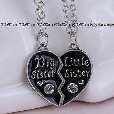 Big Sis & Lil Sis Black Necklace Sister Pendant Heart Gifts For Her Best Friends