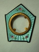 ANTIQUE 935 GERMAN STERLING SILVER GUILLOCHE ENAMEL MINI PICTURE FRAME w PANSIES