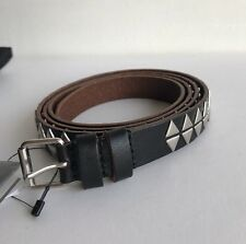 SAINT LAURENT 2cm Black Studded Leather Belt Size 100 W34""