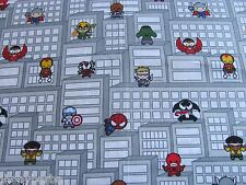 SPIDERMAN IRON MAN THOR MARVEL COMIC HERO on COTTON FABRIC Priced By The YARD**