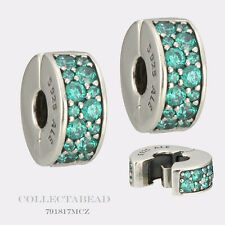 Authentic Pandora Silver Shimmering Elegance Teal CZ Clips 791817MCZ (2)