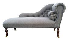 Beautiful Pewter Herringbone Chaise Longue  **HAND MADE IN UK**