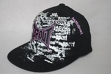 New UFC Tapout MMA Youth Stretch Pink Logo Sport Black Hat 6 7/8 - 7 1/8 Defect