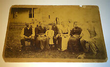Antique Victorian American Outdoor Family Group Portrait Dog & Cat Cabinet Photo