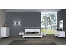 "84"" Wide Stefano Bed King High Gloss White Stainless Steel Legs. Modern / Contem"