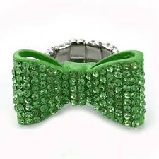 Green Ribbon Bow Tie Adjustable Size Band Prom Party Cocktail Ring Jewelry r265