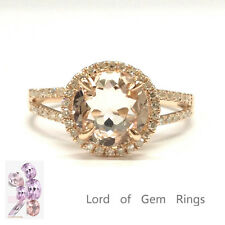8mm Round Cut Morganite .35ct Diamonds Promise Ring 14K Rose Gold Split Shank