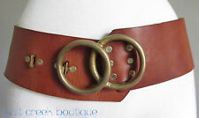 Vintage HTC Hollywood Trading Company 28 HIPPIE Wide Brown Leather Brass Belt