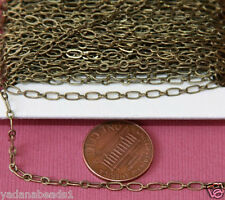 32ft of Antiqued Brass Long and Short chain 4X2mm, bulk brass chain