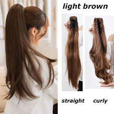 US Jaw Ponytail Clip in Hair Extension Claw Pony tail Natural Smooth Hairpiece C