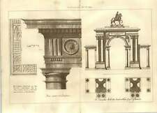 1900 Autographed Drawings Sir William Chambers Triumphal Arch Wilton
