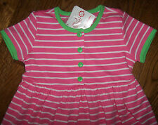 NWT Hanna Andersson Pink/White/Green Stripe Daydress Dress 120 6/7 Girl