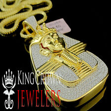 REAL YELLOW GOLD STERLING SILVER LAB DIAMOND KING TUT EGYPTIAN PHARAOH PENDANT