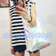Fashion Trendy Hologram Metallic Silver Shopping Bag Shoulder Bag Tote Gammaray